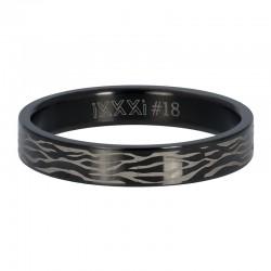 Ring czarna zebra 4 mm czarny