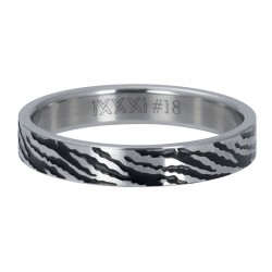 Ring zebra 4 mm srebrny
