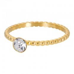 Ring kulki z kryształem 2 mm złoty