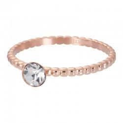 Ring kulki z kryształem 2 mm różowe złoto