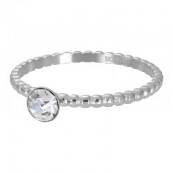 Ring kulki z kryształem 2 mm srebrny