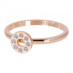 Ring płaskie kółko z kryształami 2 mm różowe złoto