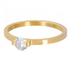 Ring kamień mini glamour 2 mm złoty