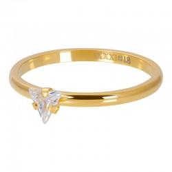 Ring kryształowy trójkąt 2 mm złoty