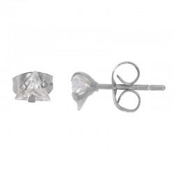 Kolczyki kryształowy trójkąt srebrne