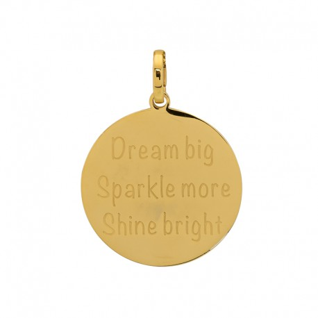 """Zawieszka duża złota """"Dream big sparkle more shine bright"""""""