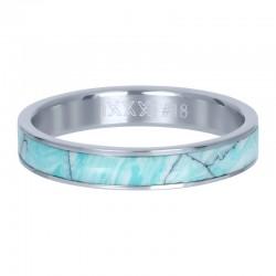 Ring zielona masa perłowa 4 mm srebrny