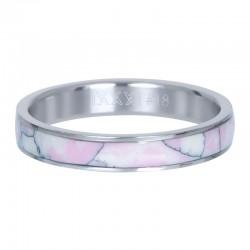 Ring różowa masa perłowa 4 mm srebrny