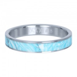 Ring niebieska masa perłowa 4 mm srebrny