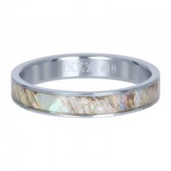 Ring szara masa perłowa 4 mm srebrny