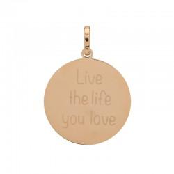 """Zawieszka duża różowe złoto """"Live the life you love"""""""