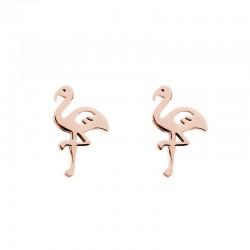 Kolczyki flamingi różowe złoto