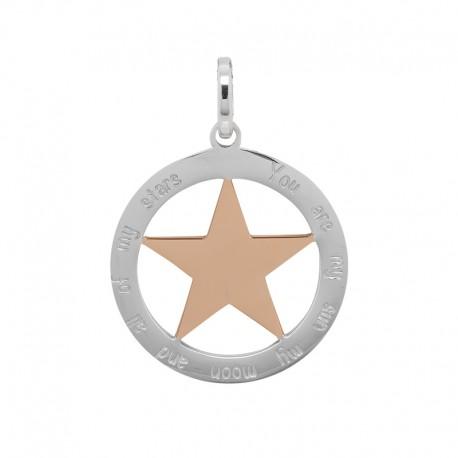 Zawieszka duża gwiazda srebrno-różowo złota
