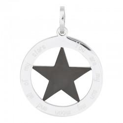 Zawieszka duża gwiazda srebrno-czarna