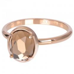 Ring Glam Oval Champagne 2 mm różowe złoto