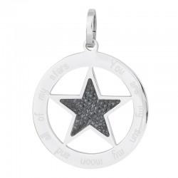 Zawieszka duża gwiazda srebrno-jeansowa