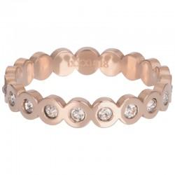 Ring Big Circle Stone 4 mm różowe złoto