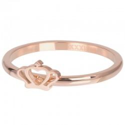 Ring symbol Glamour Crown 2 mm różowe złoto