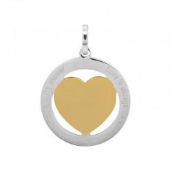 Zawieszka duża serce srebrno-złote