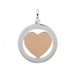 Zawieszka duża serce srebrno- różowo złote