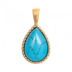 Zawieszka średnia Magic Turquoise złota