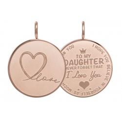 Zawieszka średnia Love Daughter duża różowe złoto