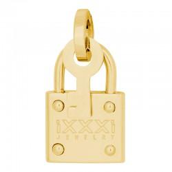 Zawieszka średnia kłódka z kluczem złota
