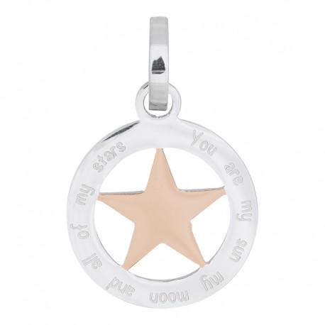 Zawieszka średnia gwiazda srebrno-różowo złota