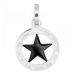 Zawieszka średnia gwiazda srebrno-czarna