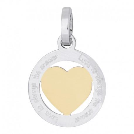 Zawieszka średnia serce srebrno-złote