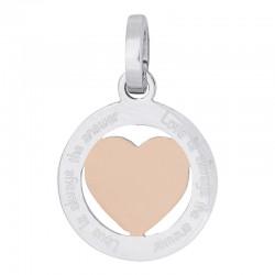 Zawieszka średnia serce srebrno-różowo złote