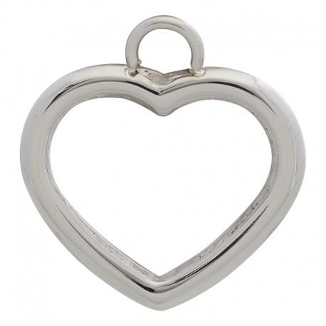 Zawieszka mała otwarte serduszko srebrne
