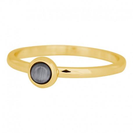 Ring kamień szary 2 mm złoty