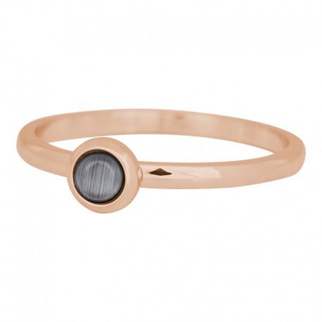 Ring kamień szary 2 mm różowe złoto
