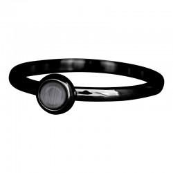 Ring kamień szary 2 mm czarny