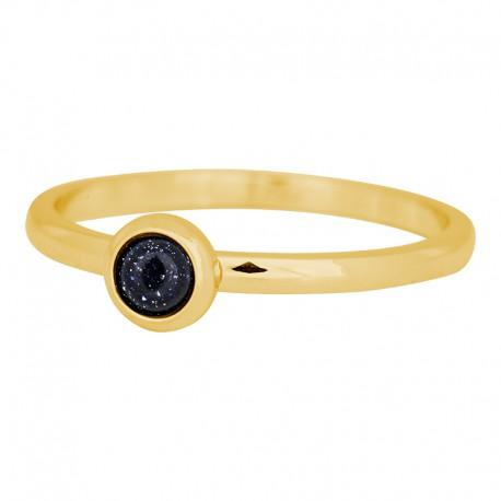 Ring kamień ciemny niebieski 2 mm złoty