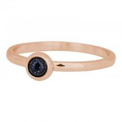 Ring kamień ciemny niebieski 2 mm różowe złoto