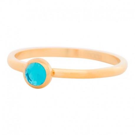 Ring kryształ niebieski 2 mm złoty