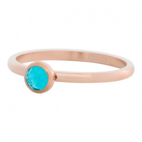 Ring kryształ niebieski 2 mm różowe złoto