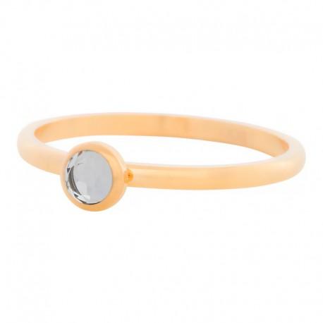 Ring kryształ biały 2 mm złoty