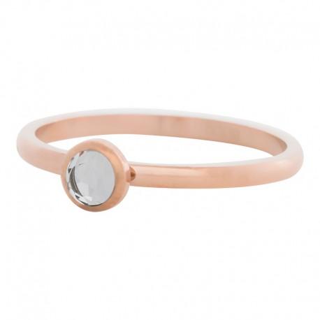 Ring kryształ biały 2 mm różowe złoto
