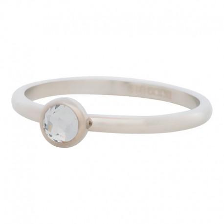 Ring kryształ biały 2 mm srebrny