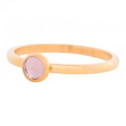 Ring kryształ różowy 2 mm złoty