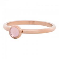Ring kryształ różowy 2 mm różowe złoto