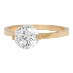 Ring kamień Glamour 2 mm złoty