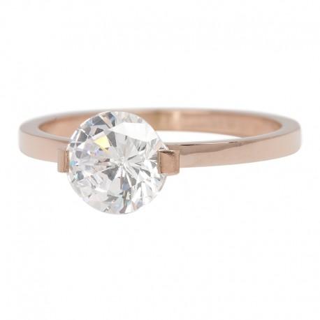 Ring kamień Glamour 2 mm różowe złoto