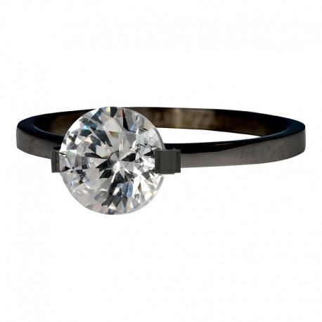 Ring kamień Glamour 2 mm czarny