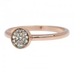 Ring kielich z kamieniami 2 mm różowe złoto