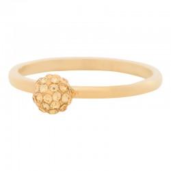 Ring kulka z kryształami 2 mm złoty
