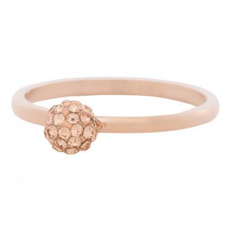 Ring kulka z kryształami 2 mm różowe złoto